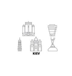 Ukraine kiev line travel skyline set ukraine vector