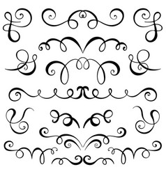 vintage decorative curls and swirls set vector image