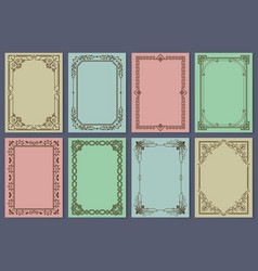 Vintage postcards with elegant frames templates vector