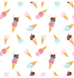 Watercolor ice cream pattern vector