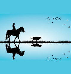 Woman riding a horse and dog vector