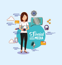 woman with smartphone chat bubble social media vector image