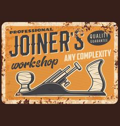 Woodwork joiner or carpenter workshop metal plate vector