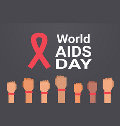 World aids day awareness hands with red ribbon vector
