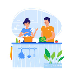 Young couple cooking in a kitchen in a flat design vector
