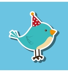 bird whit hat party design vector image