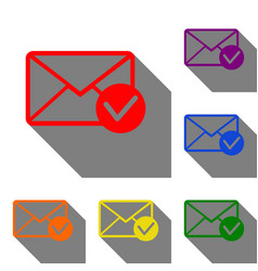 mail sign with allow mark set of red vector image vector image