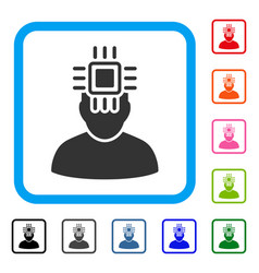 neuro interface framed icon vector image