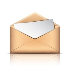 Old envelope with blank paper vector image vector image