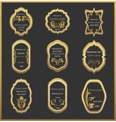 Set emblem with floral ornaments vector image vector image
