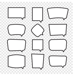 set of rectangle comic speech bubbles vector image