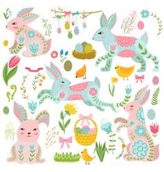 vintage elements set of easter theme rabbits vector image