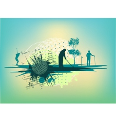 Golf Silhouettes in cyan background vector image