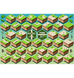 Isometric Roads on Green City Park vector image vector image