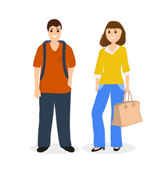 man and woman travelers tourists with a bag and a vector image