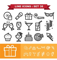 Party line icons set 38 vector image vector image