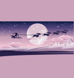 santa flying in his sled vector image