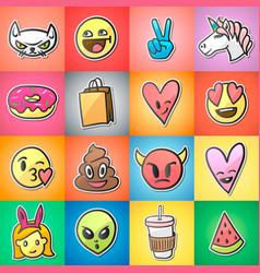 set of colorful emoticons emoji stickers vector image