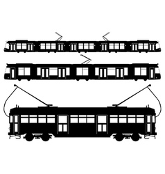 Tram silhouettes vector image vector image