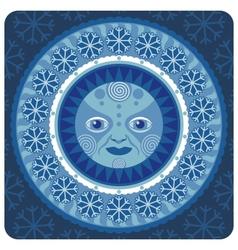 concentric decorative winter sun vector image