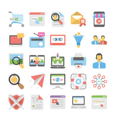 seo and digital marketing colored icons 7 vector image
