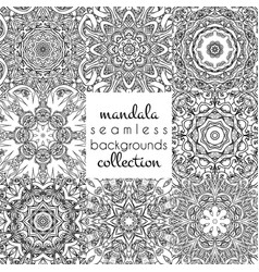 Set of seamless patterns in mandala style vector