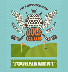 vintage poster for golf tournament vector image