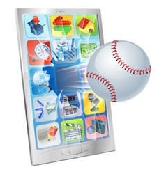 baseball ball flying out of cell phone vector image vector image