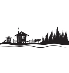 Beautiful sketch with beautiful house and spruce vector image