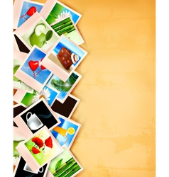 Colorful photos on old paper background vector image