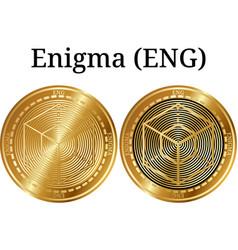Set of physical golden coin enigma eng vector