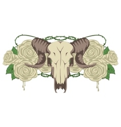 skull sheep and flowers roses vector image vector image
