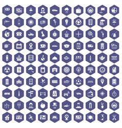 100 taxi icons hexagon purple vector