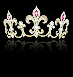 a crown diadem gold and precious stones in the vector image
