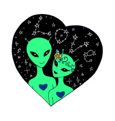 A loving couple aliens in starry sky vector