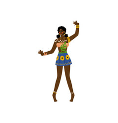 African woman aboriginal girl dressed in bright vector