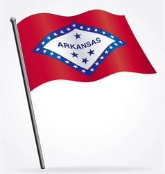 Arkansas ar state flag waving on flagpole vector