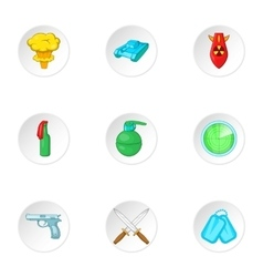 Army weapons icons set cartoon style vector image