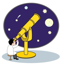 Astronomer with telescope vector