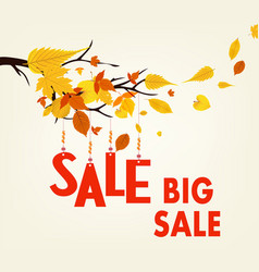 Autumn sales banner with colorful leaves hanging vector