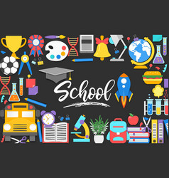 Back to school background with 3d paper cut signs vector