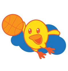 Bird playing basketball vector