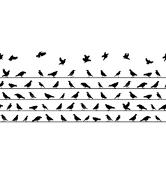 Birds Sitting on Power Lines Seamless Pattern vector