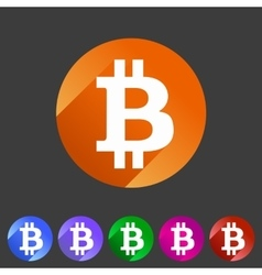 Bitcoin icon web sign symbol logo label vector image