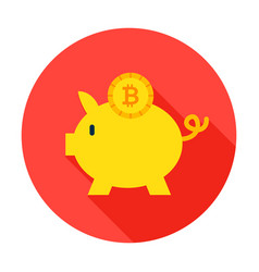 Bitcoin piggy circle icon vector