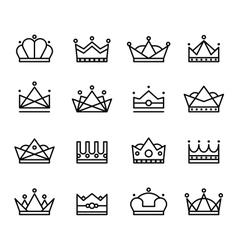 Black crown icons set vector