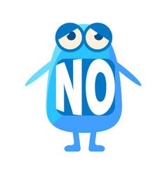 Blue blob saying no cute emoji character vector