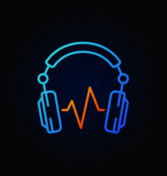 Blue dj headphones with sound wave line vector