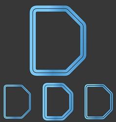 Blue line d logo design set vector