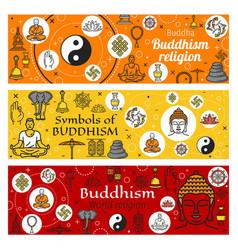 buddhism religion zen buddhist yoga and buddha vector image